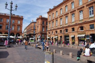 Typical architecture in Toulouse: the red  brick stones
